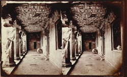 Interior view from the right of the verandah of Buddhist vihara, Cave XVII, Ajanta